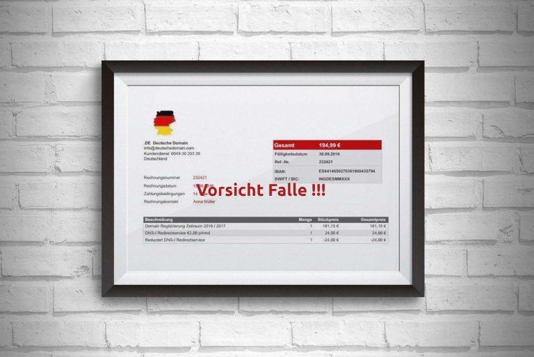 Deutsche Domain fake Rechnung